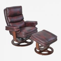 15-8023T Bella II Mahogany  Leather Recliner w/ Ottoman