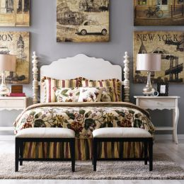 Milan-White-HB  Queen Poster Bed