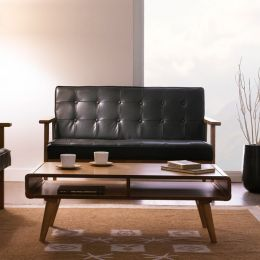 DT-1902-Black-PU  2-Seater Sofa