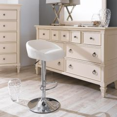 08006-White  Adjustable Bar Stool