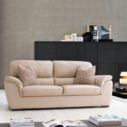 S-1873-Ivory  3-Seater Leather Sofa