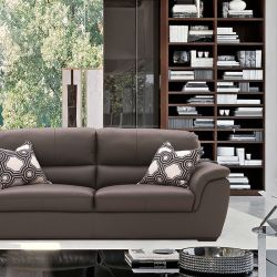 S-1873-Brown  Leather Sofa