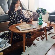 Bed Tray-Walnut  Foldable Table