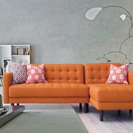Bloom-Orange  Sofa w/ Chaise