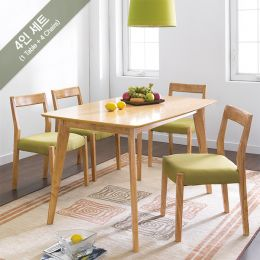 Mango-Green-4C  Dining Set (1 Table + 4 Chairs)