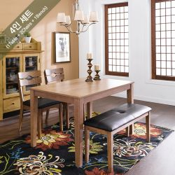 PAI-4-Walnut  Dining Set  (1 Table + 2 Chairs + 1 Bench)