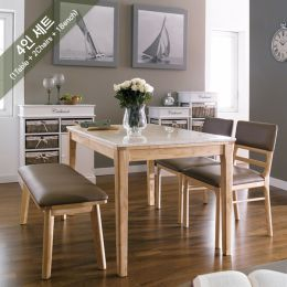 Kimberly-4-Marble  Dining Set (1 Table + 2 Chairs + 1 Bench)