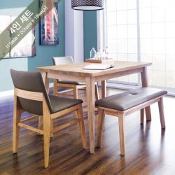 Zodax-4-Natural  Dining Set  (1 Table + 2 Chairs + 1 Bench)