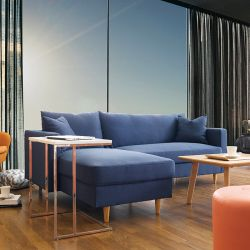 Adelaide-Blue  Sofa w/ Chaise