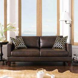 8349-Coffee   Leather-Look  Sofa