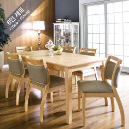 Dotori-6  Dining Set(1 Table + 6 Chairs) ~100% 원목식탁~