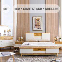Vivid-Q Bed Set  Queen Bed (침대+협탁+화장대+거울)