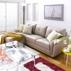 S-1522  Leather Sofa w/ Chaise