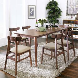 Luna-6C-Walnut  Dining Set (1 Table + 6 Chairs)