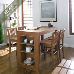 D390-4-Oak-4C  Island Dining Set (1 Table + 4 Chairs)
