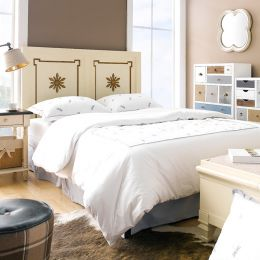 Cream & Gold  Queen Panel Bed