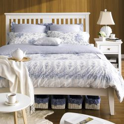 HAMPSTEAD-White Queen Bed w/ Slats