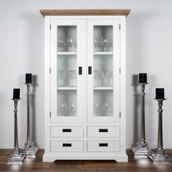 Nimes-White Glass Cabinet