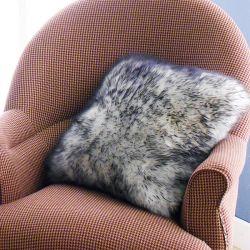 Mary Sheepskin-White/Black   Accent Pillow