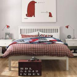 Atlanta-White Queen Bed w/ Slats