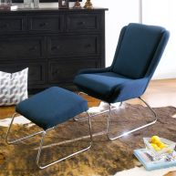 Kerstin-Blue  Resting Chair w/ Stool