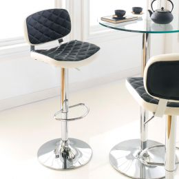 59790-Black/White  Ajustable Bar Stool