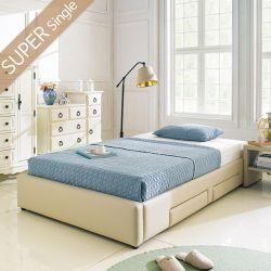 Dora-1200-Beige  Super Single Bed w/ Wood Slats
