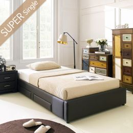 Dora-1200-Brown  Super Single Bed w/ Wood Slats