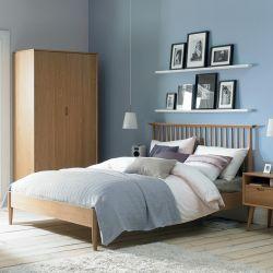 Orbit-Oak-Low Queen Bed w/ Wood Slats