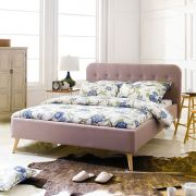 Alma-Light Brown  Queen Bed w/ Slats