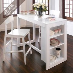 Pisang-2-White   Island Dining Set  (1 Table + 2 Chairs)