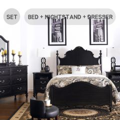 Perris-K-Set  King Panel Bed  (침대+협탁+화장대+거울)