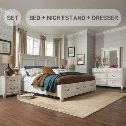 B4056  Queen Panel Bed w/ Storage (침대+협탁+화장대+거울)