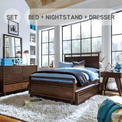 1010  Queen Panel Bed (No Storage)  (침대+협탁+화장대+거울)