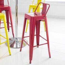 M-504D-Red  Metal Bar Chair