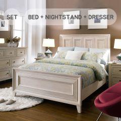 B4220  Queen Panel Bed  (침대+협탁+화장대+거울)
