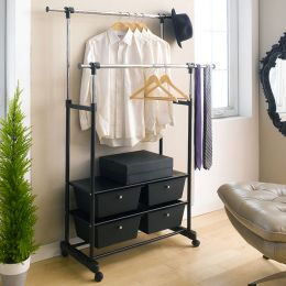 HG74A  Double Hanger Rack w/ Storage