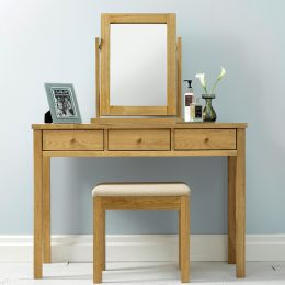 Atlanta-Oak  Vanity & Mirror