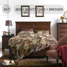 Tamarack-Brown  Queen Panel Bed Set  (침대+협탁+화장대+거울)