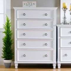 Tamarack-White  5-Drawer Chest