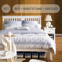 HAMPSTEAD-White Queen Bed w/ Slats  (침대+협탁+화장대+거울+스툴)