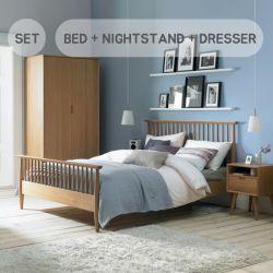Orbit-Oak  Queen Bed w/ Slats  (침대+협탁+화장대+거울+스툴)