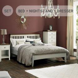 HAMPSTEAD-Two Tones Queen Bed w/ Slats  (침대+협탁+화장대+거울+스툴)