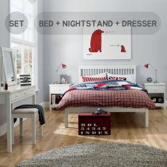Atlanta-White Queen Bed w/ Slats  (침대+협탁+화장대+거울+스툴)