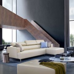 Molly-Ivory  Leather Sofa w/ Chaise