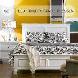 Tamarack-White  Queen Panel Bed Set (침대+협탁+화장대+거울)