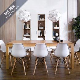 Ocean-N8B-White  Dining Set  (1 Table + 6 Chairs)
