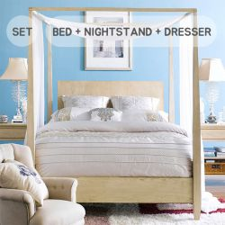 B3505  Queen Canopy Bed   (침대+협탁+화장대+거울)