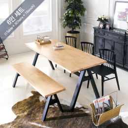 Florence-6-Black  Dining Set (1 Table + 3 Chairs + 1 Bench)