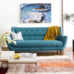 Midas-Turquoise  3-Seater Sofa